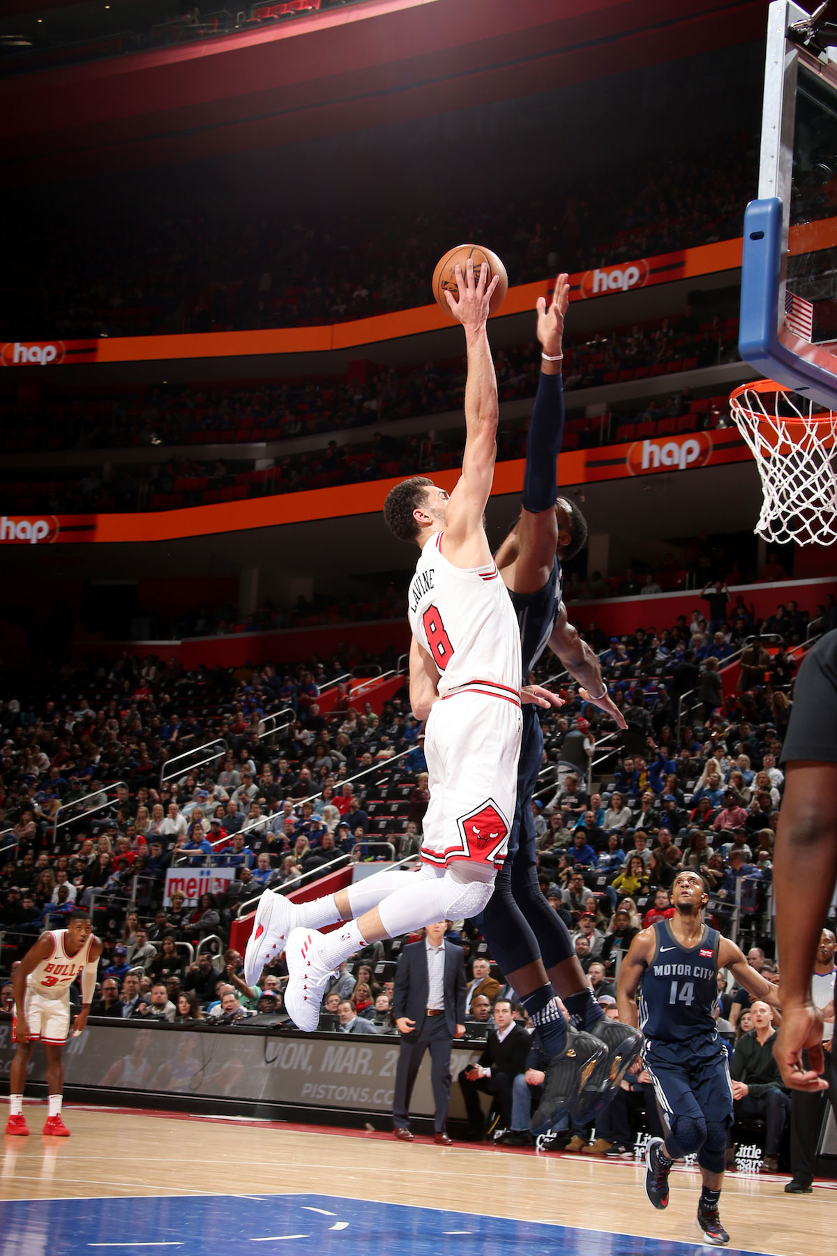 Zach LaVine #8 of the Chicago Bulls dunks the ball during the game against the Detroit Pistons