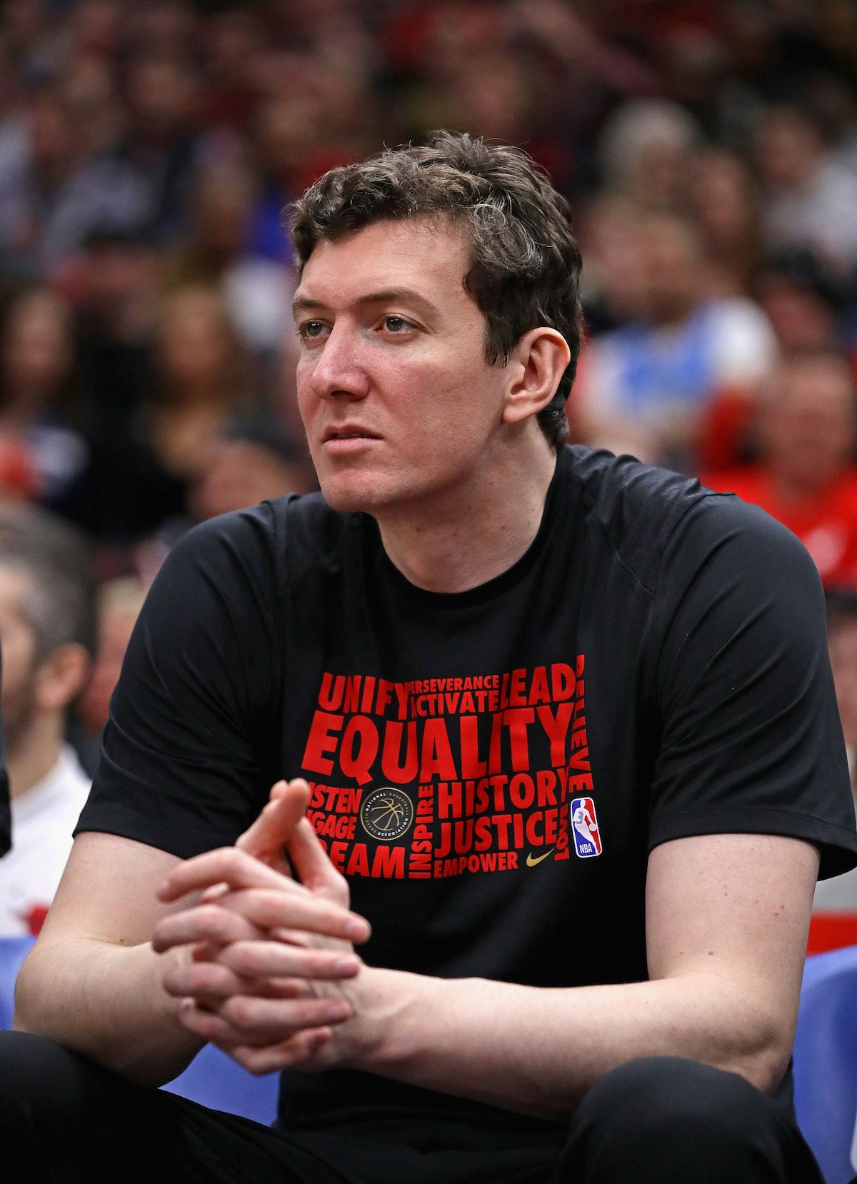 Omer Asik #3 of the Chicago Bulls watches from the bench