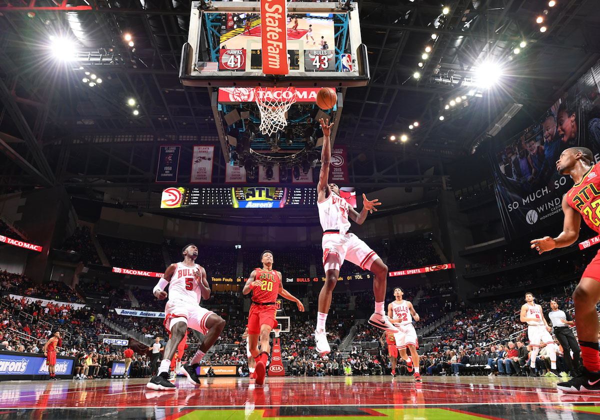 Antonio Blakeney #9 of the Chicago Bulls dunks against the Atlanta Hawks on March 11, 2018 at Philips Arena in Atlanta, Georgia.