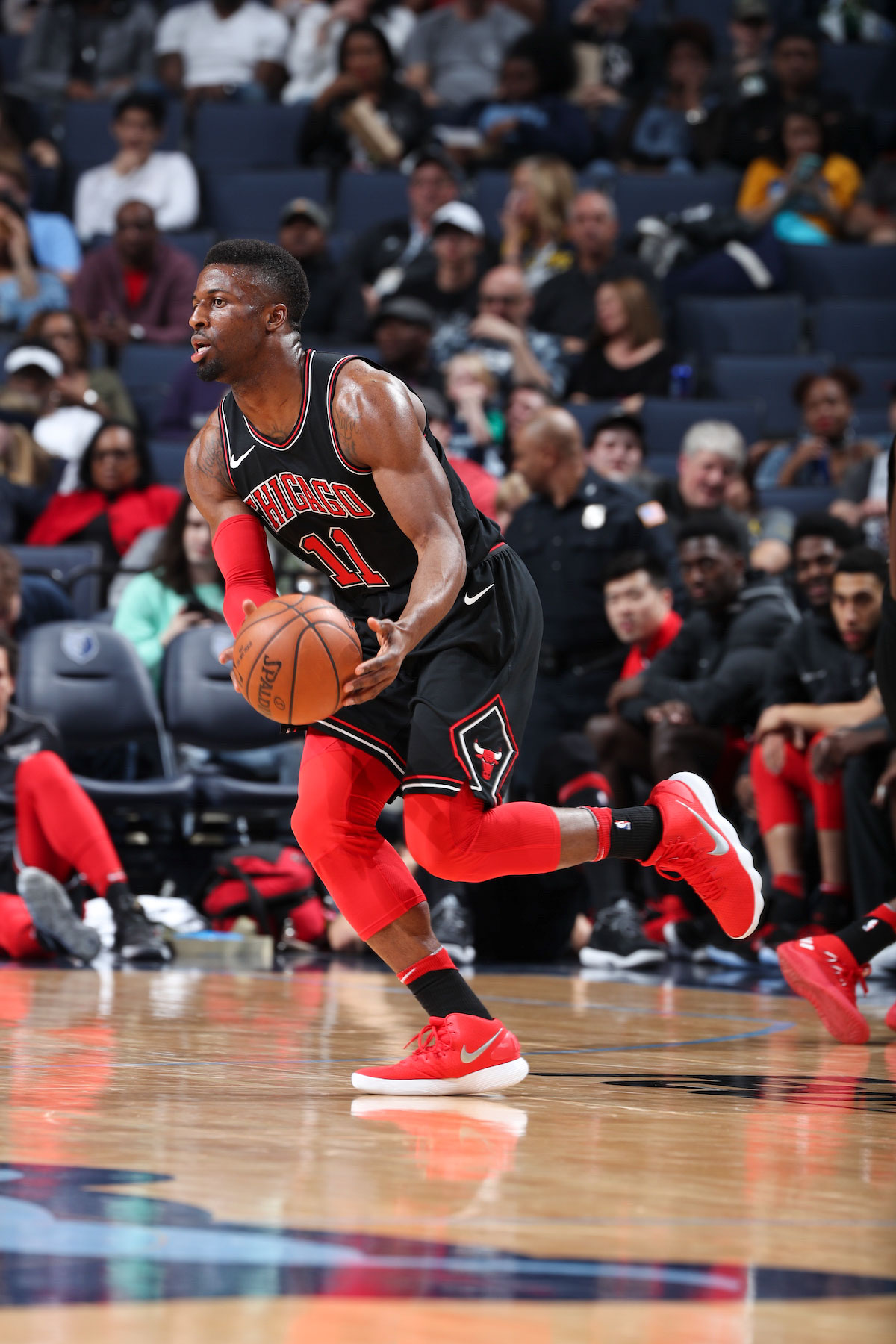 David Nwaba #11 of the Chicago Bulls handles the ball during the game against the Memphis Grizzlies on March 15, 2018 at FedExForum in Memphis, Tennessee