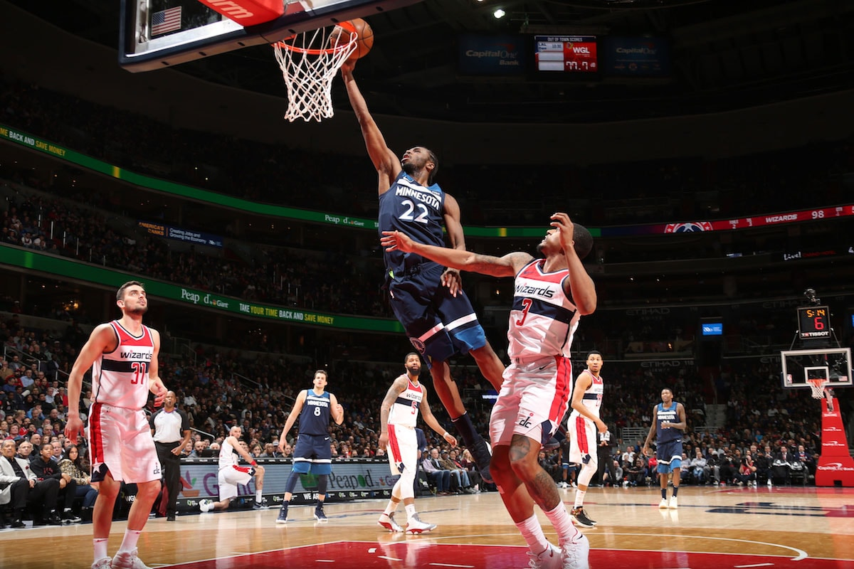 Andrew Wiggins #22 of the Minnesota Timberwolves handles the ball against the Washington Wizards on March 13, 2018 at Capital One Arena in Washington, DC.
