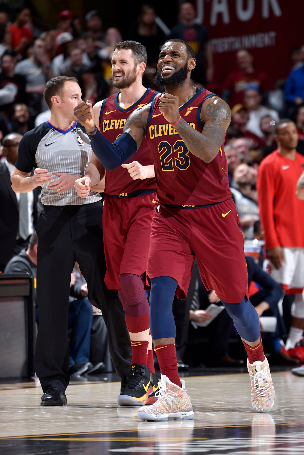 LeBron James #23 of the Cleveland Cavaliers reacts after a play against the Toronto Raptors on March 21, 2018 at Quicken Loans Arena in Cleveland, Ohio