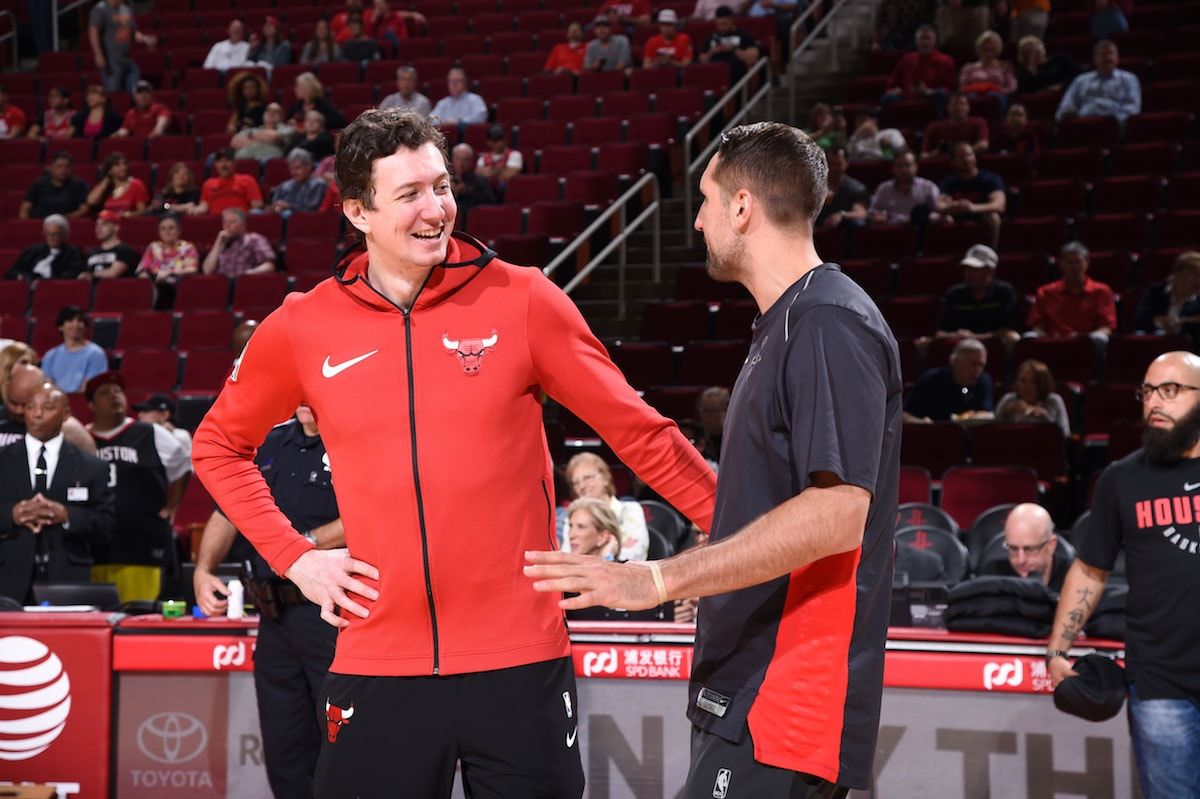 Omer Asik #3 of the Chicago Bulls and Ryan Anderson #33 of the Houston Rockets are seen before the game on March 27, 2018