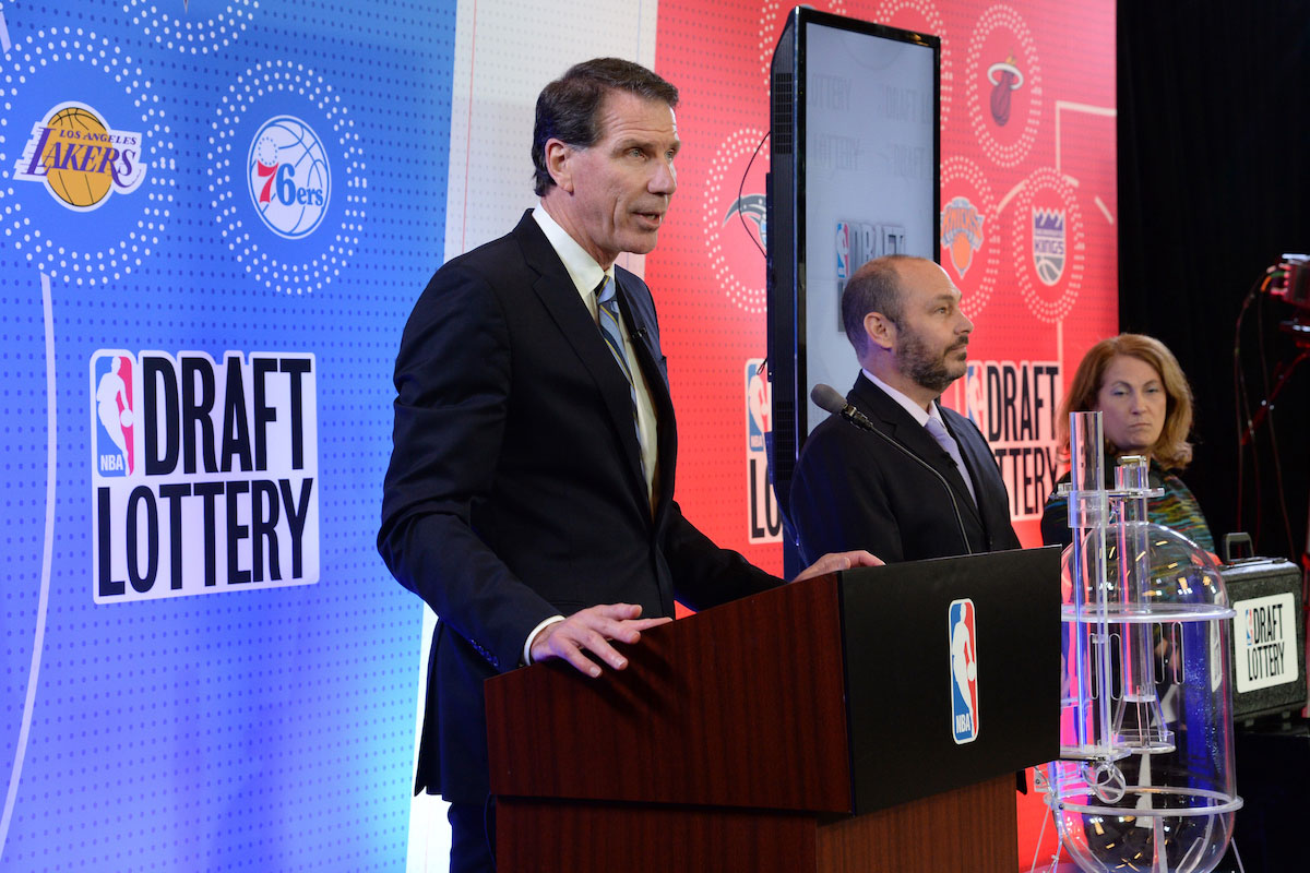 The lottery drawing begins inside the lottery room during the 2017 NBA Draft Lottery at the New York Hilton in New York, New York.