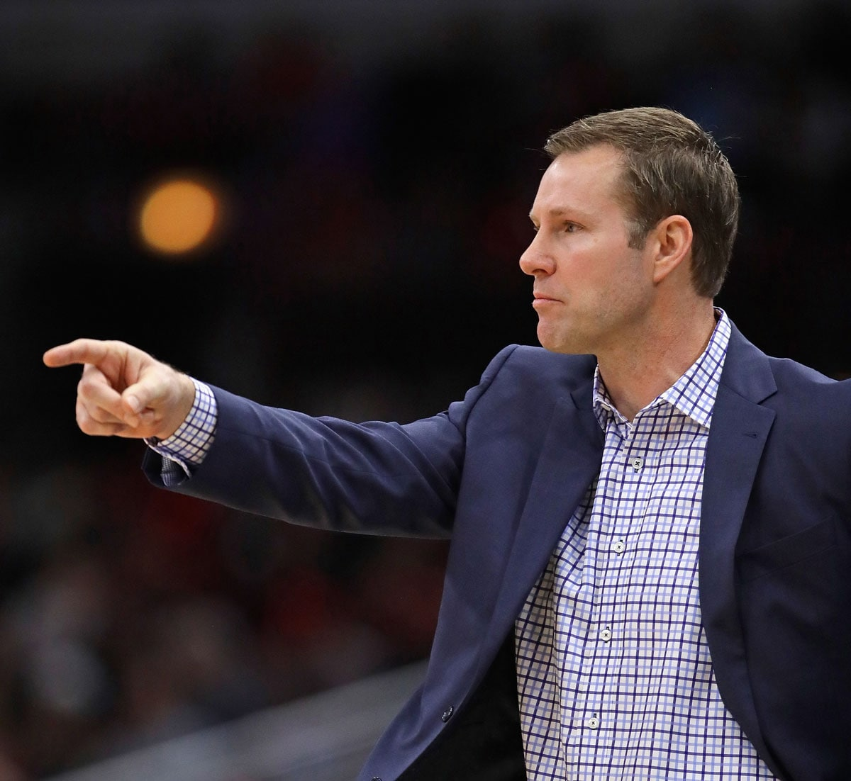 Head coach Fred Hoiberg of the Chicago Bulls calls a play against the Minnesota Timberwolves at the United Center on February 9, 2018