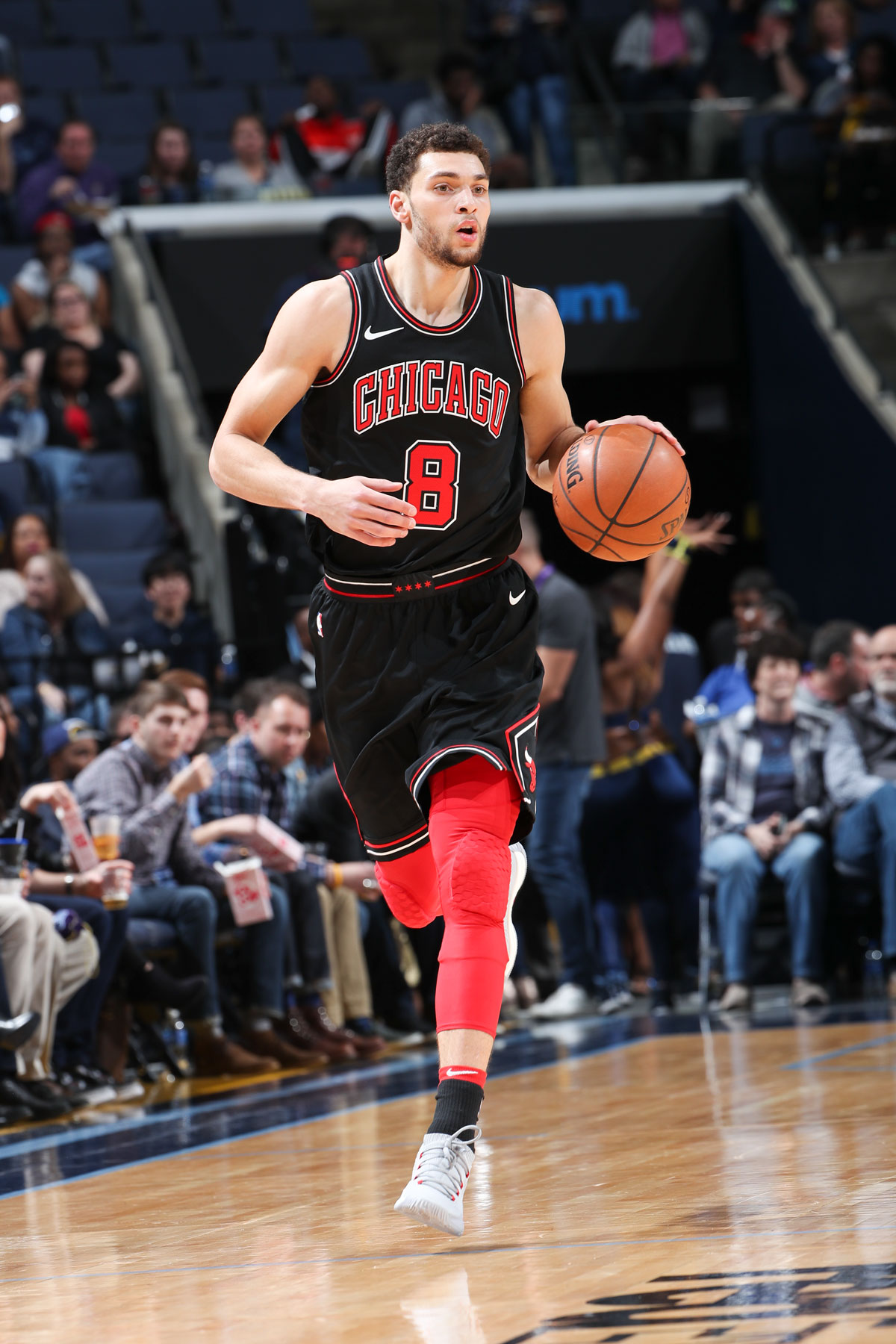 Zach LaVine #8 of the Chicago Bulls handles the ball during the game against the Memphis Grizzlies on March 15, 2018
