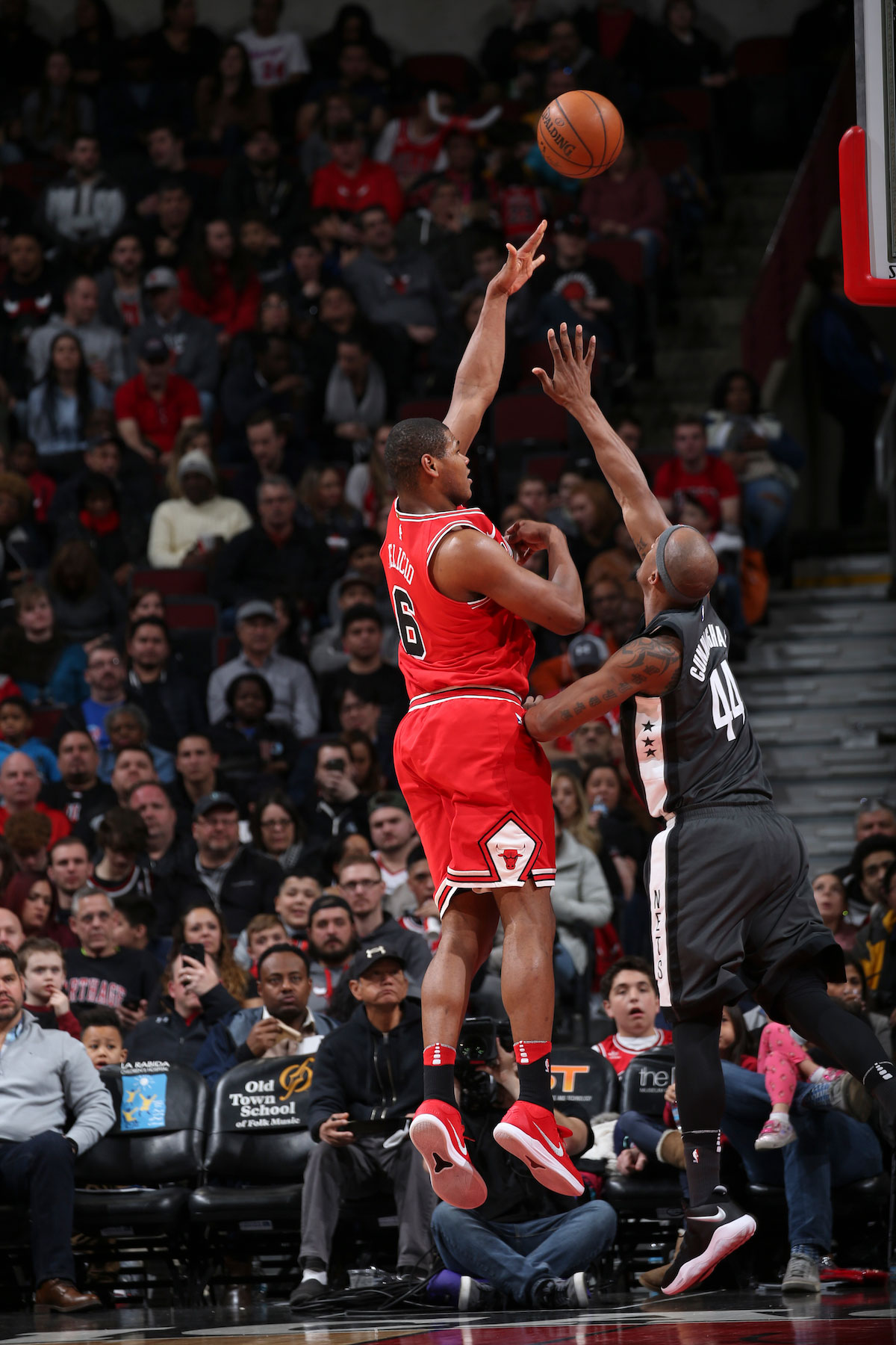 Cristiano Felicio #6 of the Chicago Bulls shoots the ball against the Brooklyn Nets