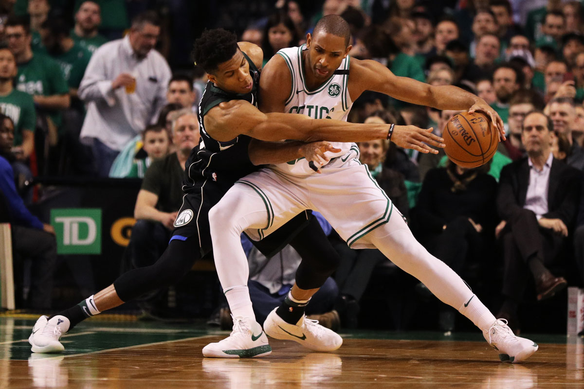 Giannis Antetokounmpo #34 of the Milwaukee Bucks defends Al Horford #42 of the Boston Celtics in the first quarter of Game Two in Round One of the 2018 NBA Playoffs