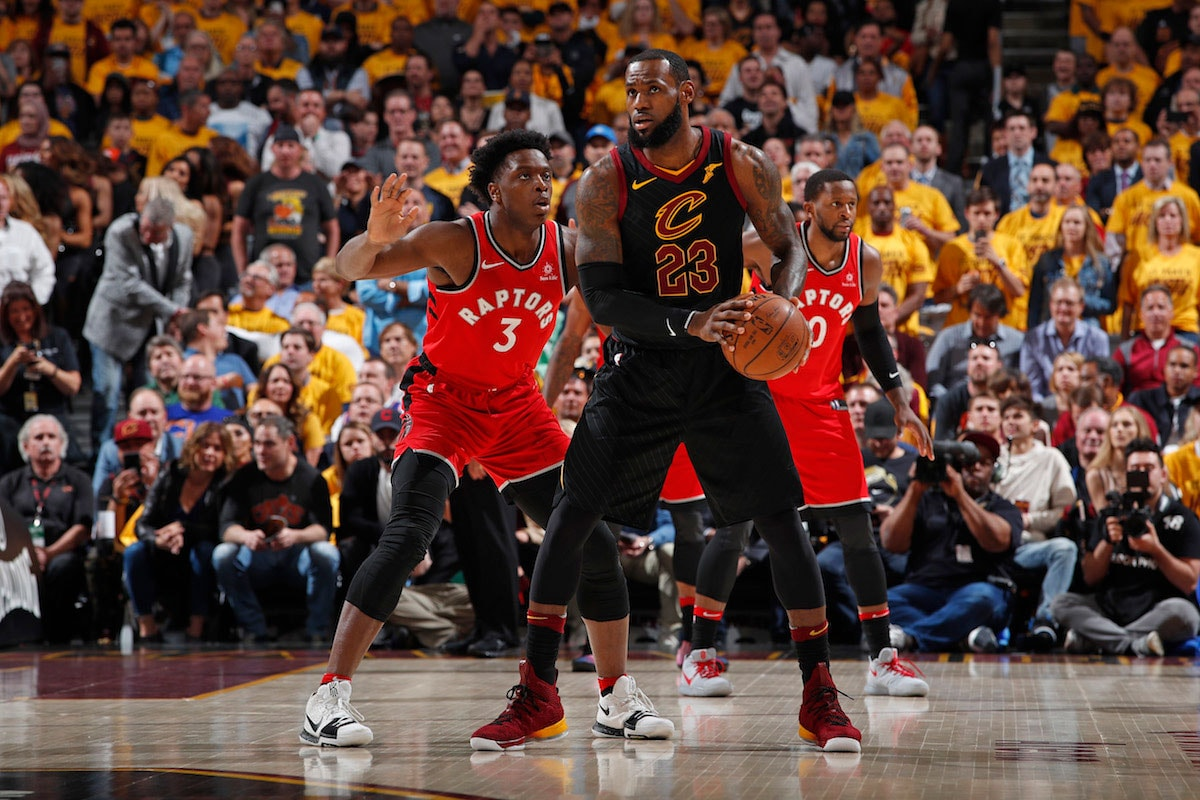 LeBron James #23 of the Cleveland Cavaliers handles the ball against OG Anunoby #3 of the Toronto Raptors during Game Four of the Eastern Conference Semifinals of the 2018 NBA Playoffs on May 7, 2018 at Quicken Loans Arena in Cleveland, Ohio.