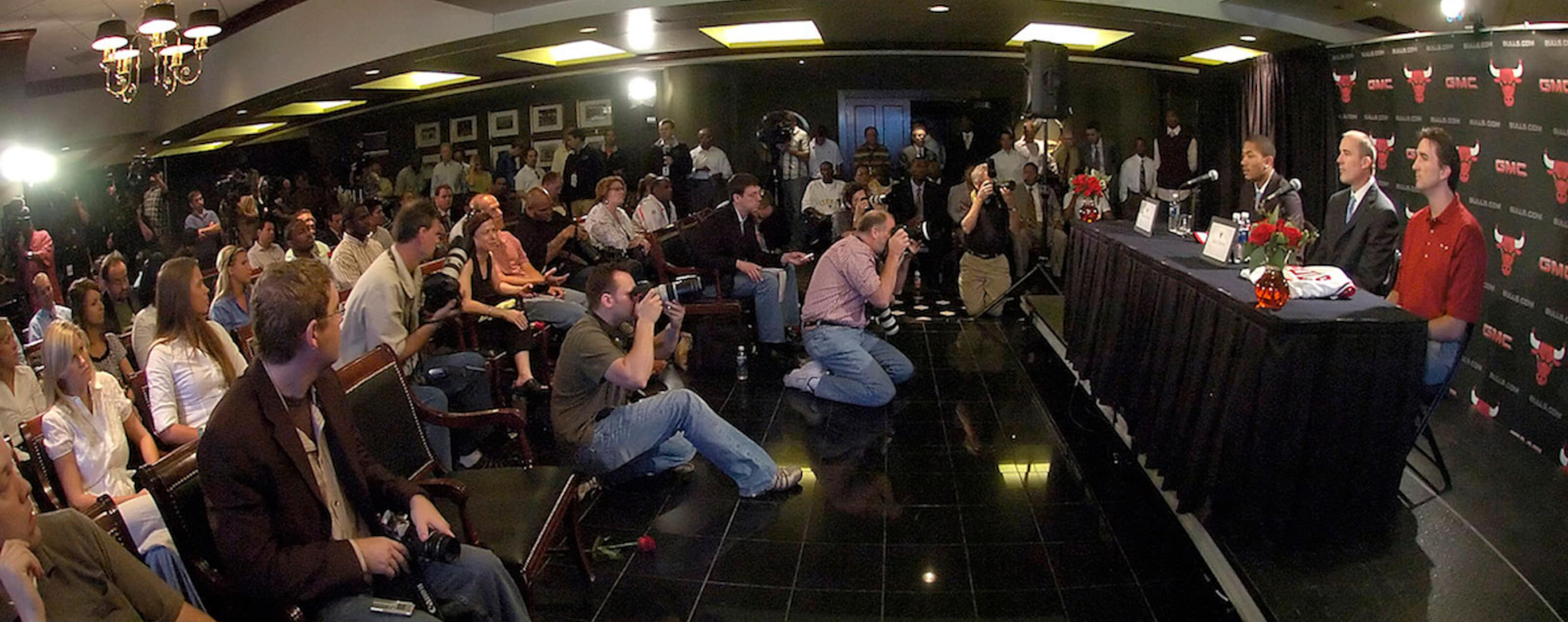 A wide angle view of the Chicago Bulls press conference to introduce Derrick Rose, the 2008 NBA Draft top pick and the team's first round draft pick to the media at the United Center June 30, 2008 in Chicago, Illinois.
