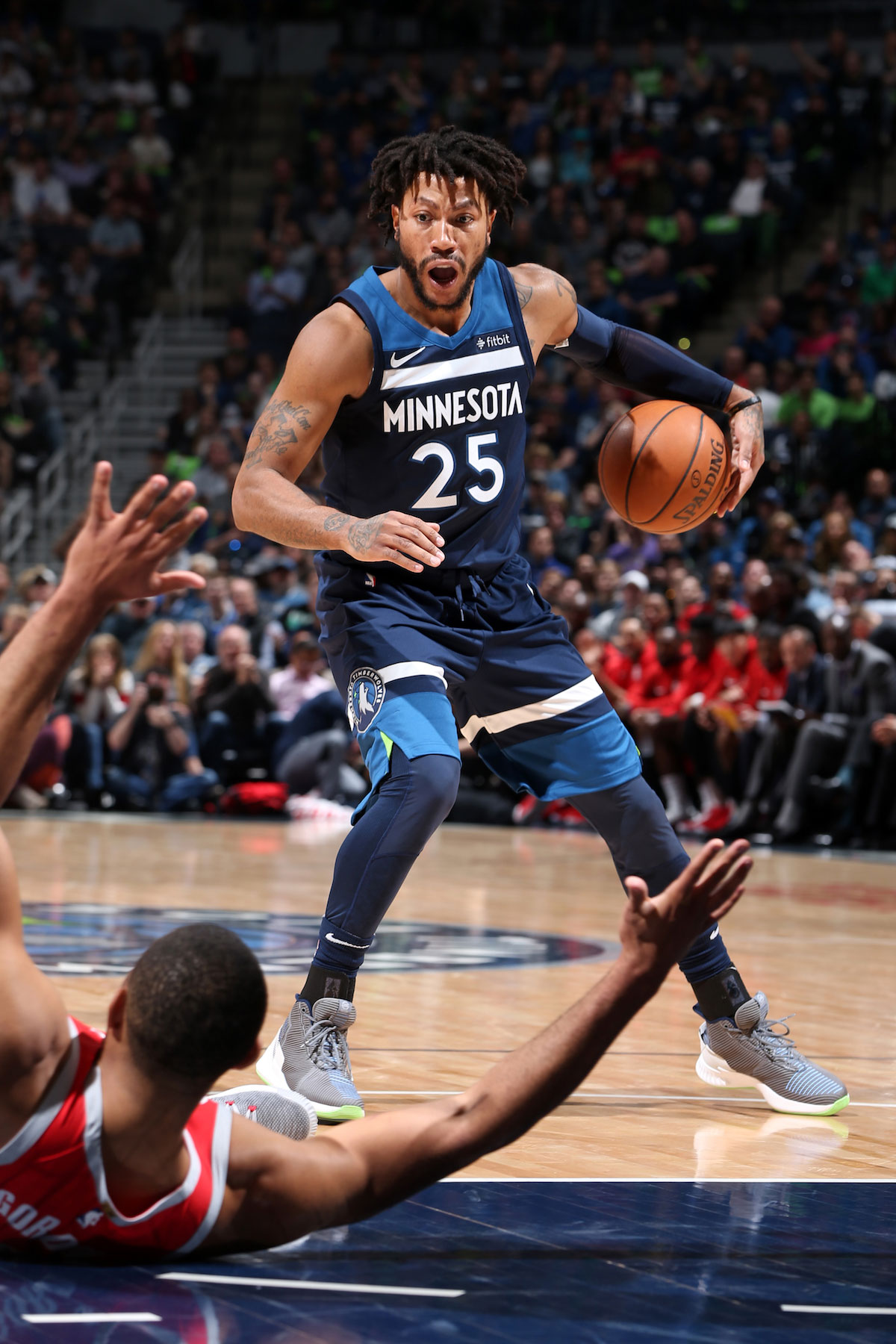 Derrick Rose #25 of the Minnesota Timberwolves handles the ball against the Houston Rockets in Game Four of Round One of the 2018 NBA Playoffs on April 23, 2018 at Target Center in Minneapolis, Minnesota.