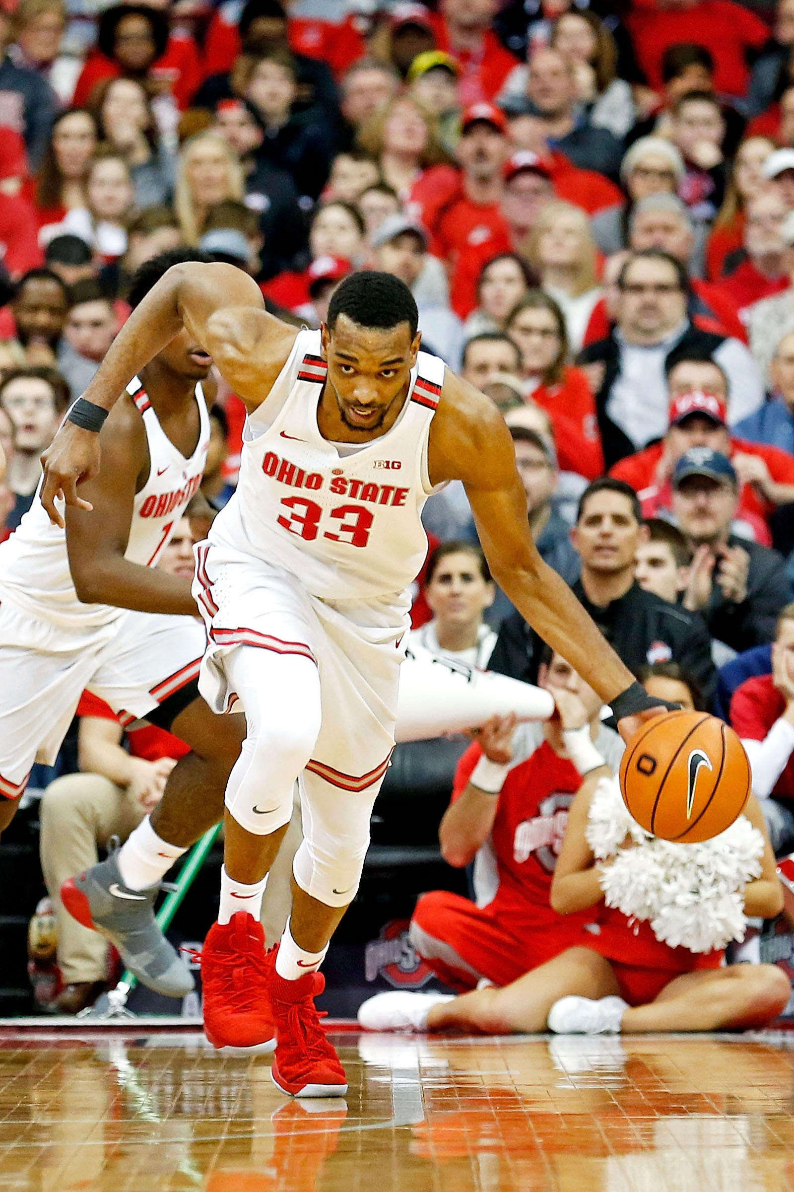 Keita Bates-Diop #33 of the Ohio State Buckeyes runs the ball up court during the game against the Iowa Hawkeyes at Value City Arena on February 10, 2018 in Columbus, Ohio