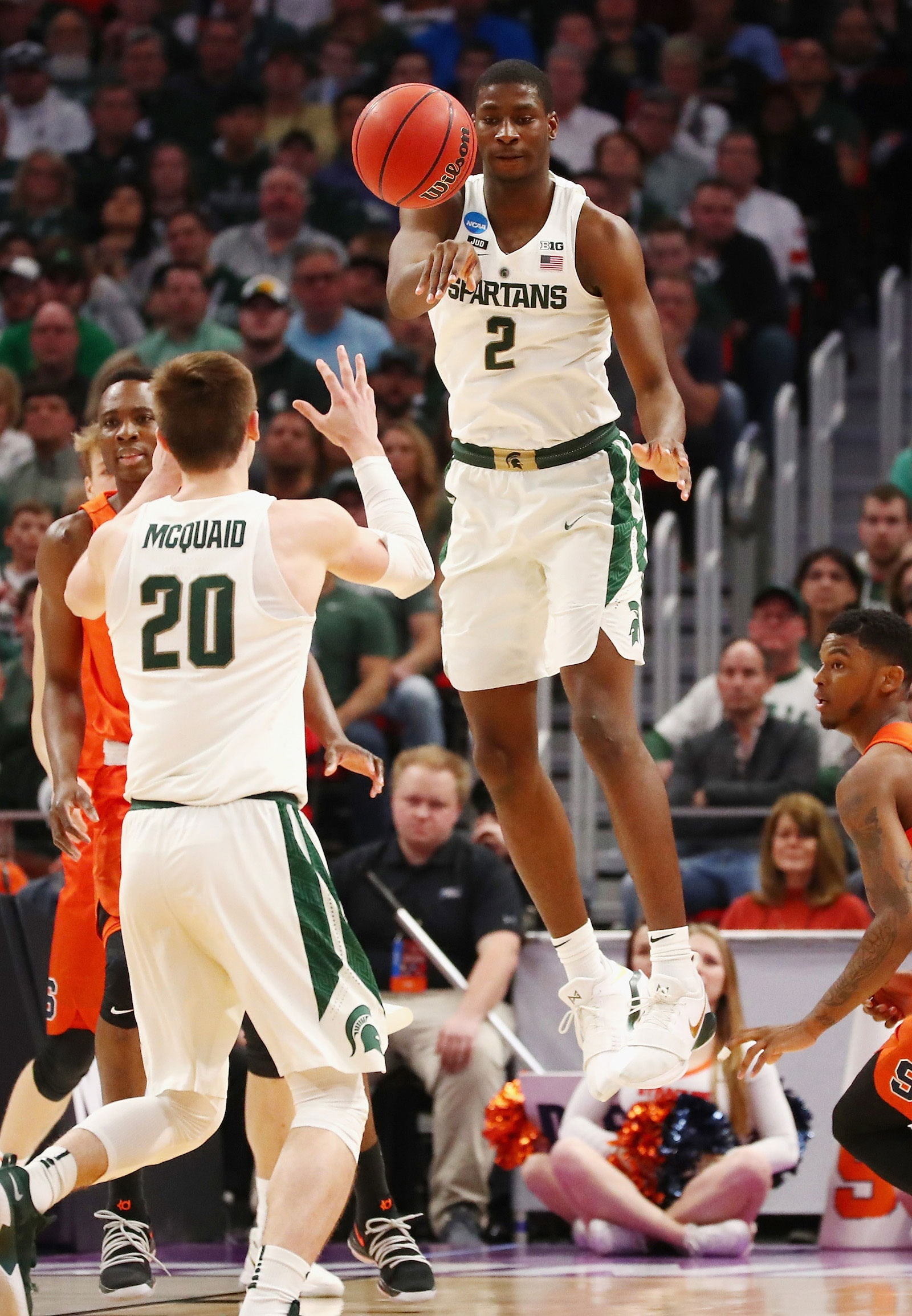 Jaren Jackson Jr. #2 of the Michigan State Spartans passes the ball during the first half against the Syracuse Orange in the second round of the 2018 NCAA Men's Basketball Tournament at Little Caesars Arena on March 18, 2018 in Detroit, Michigan.