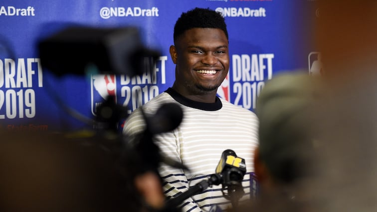 Zion Williamson meets with the media the day before the NBA Draft