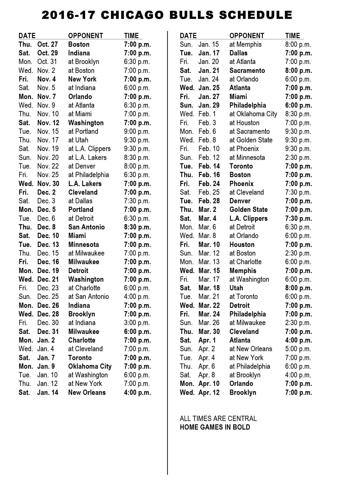 chicago bulls announce 2016-17 schedule | chicago bulls