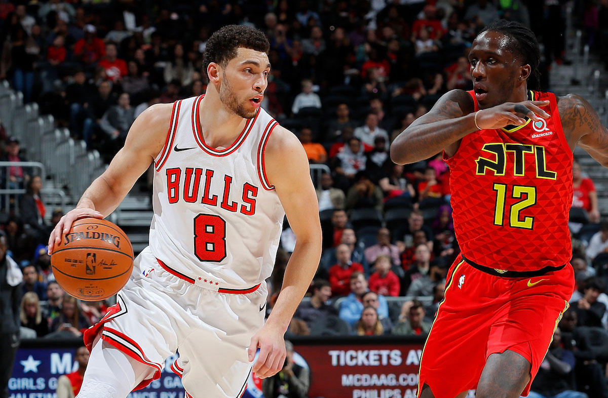 Zach LaVine #8 of the Chicago Bulls drives against Taurean Prince #12 of the Atlanta Hawks at Philips Arena on March 11, 2018 in Atlanta, Georgia.