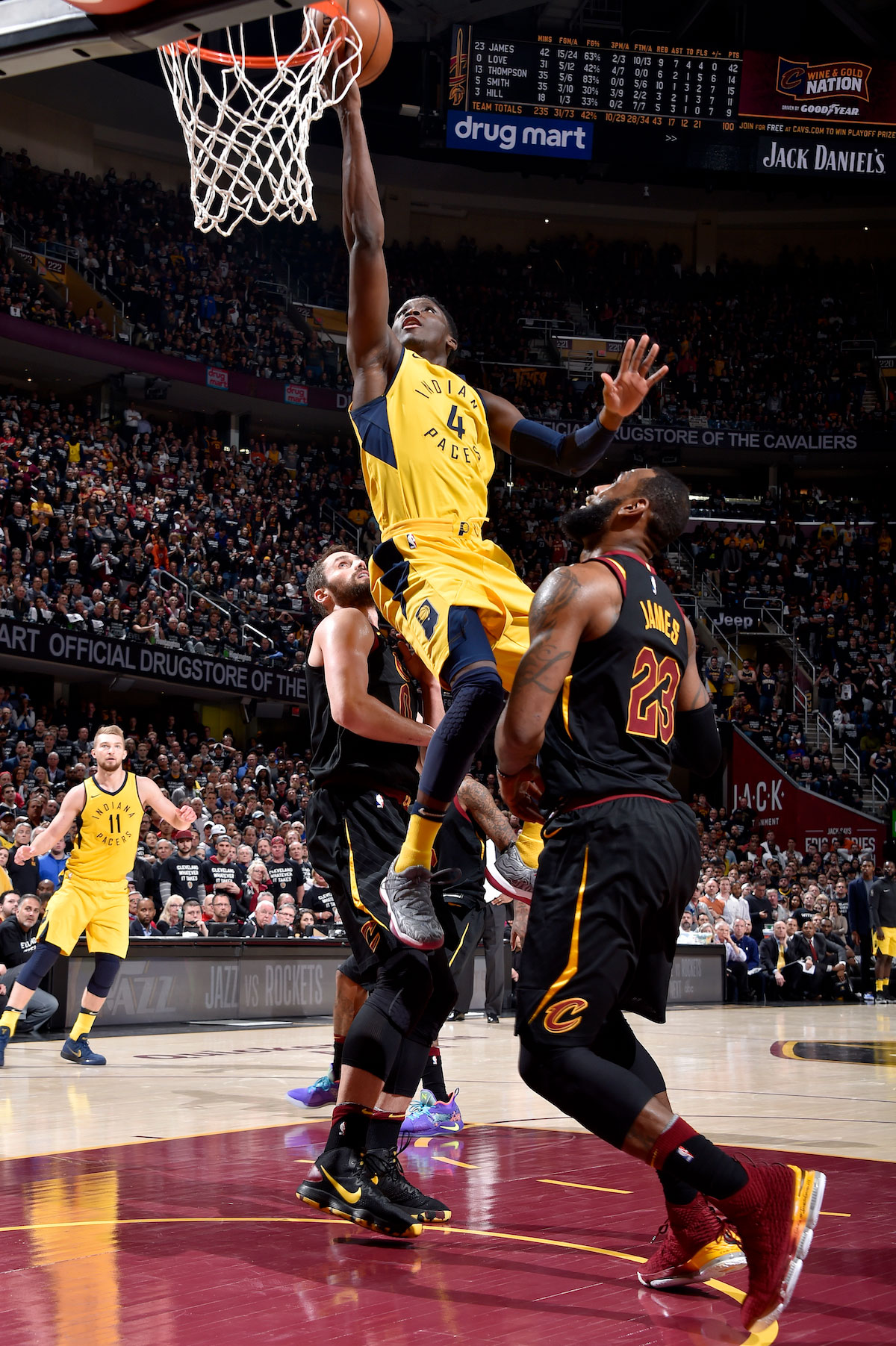 Victor Oladipo #4 of the Indiana Pacers goes to the basket against the Cleveland Cavaliers in Game Seven of Round One of the 2018 NBA Playoffs on April 29, 2018 at Quicken Loans Arena in Cleveland, Ohio