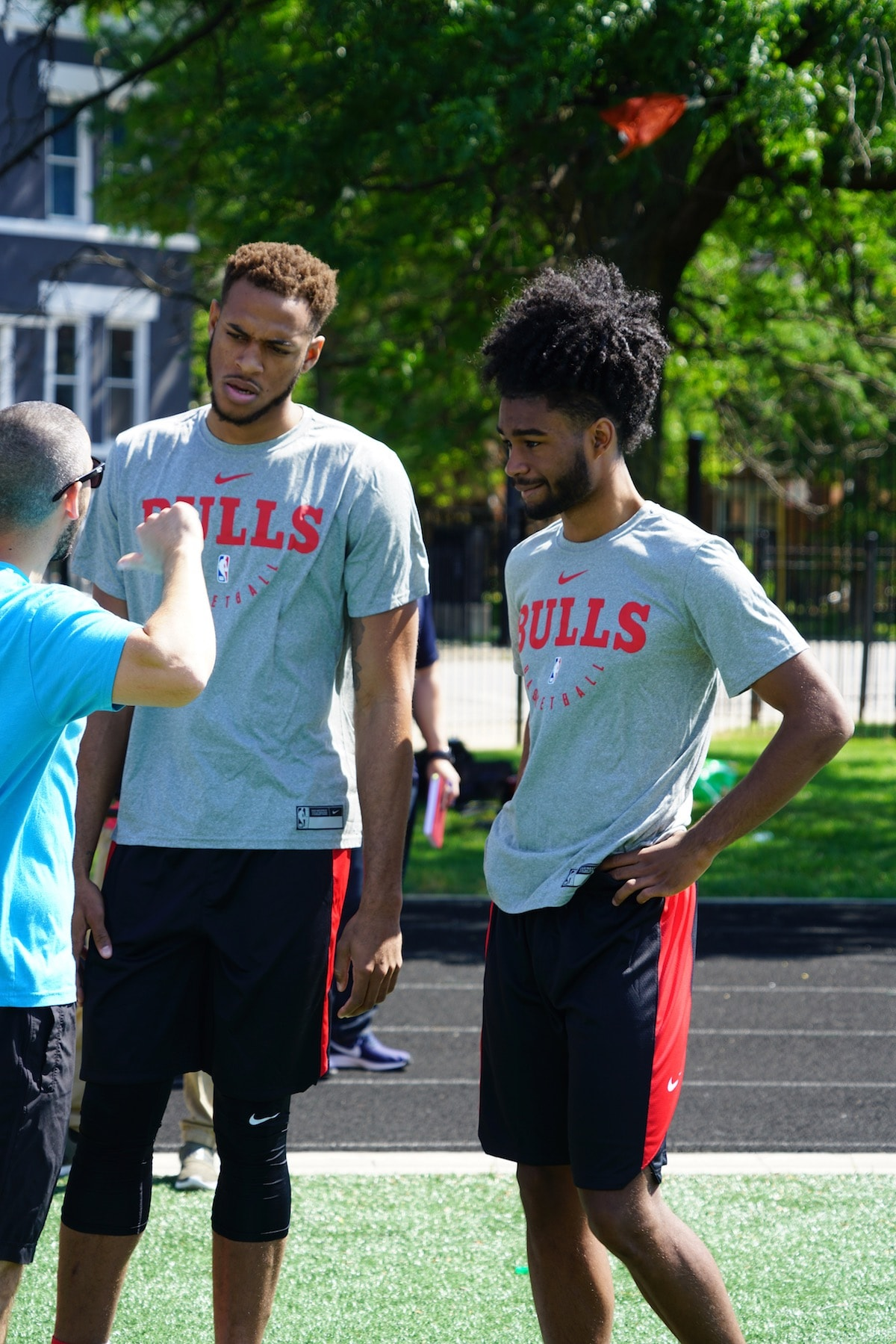Gafford and White outside at player workouts