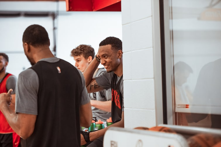 The Bulls take a break during training camp day 2