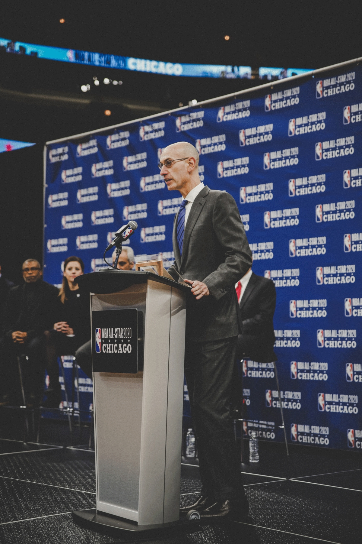 November 10, 2017. Adam Silver addressing a press conference about the NBA All Star Game coming to Chicago, at the United Center, Chicago, IL.