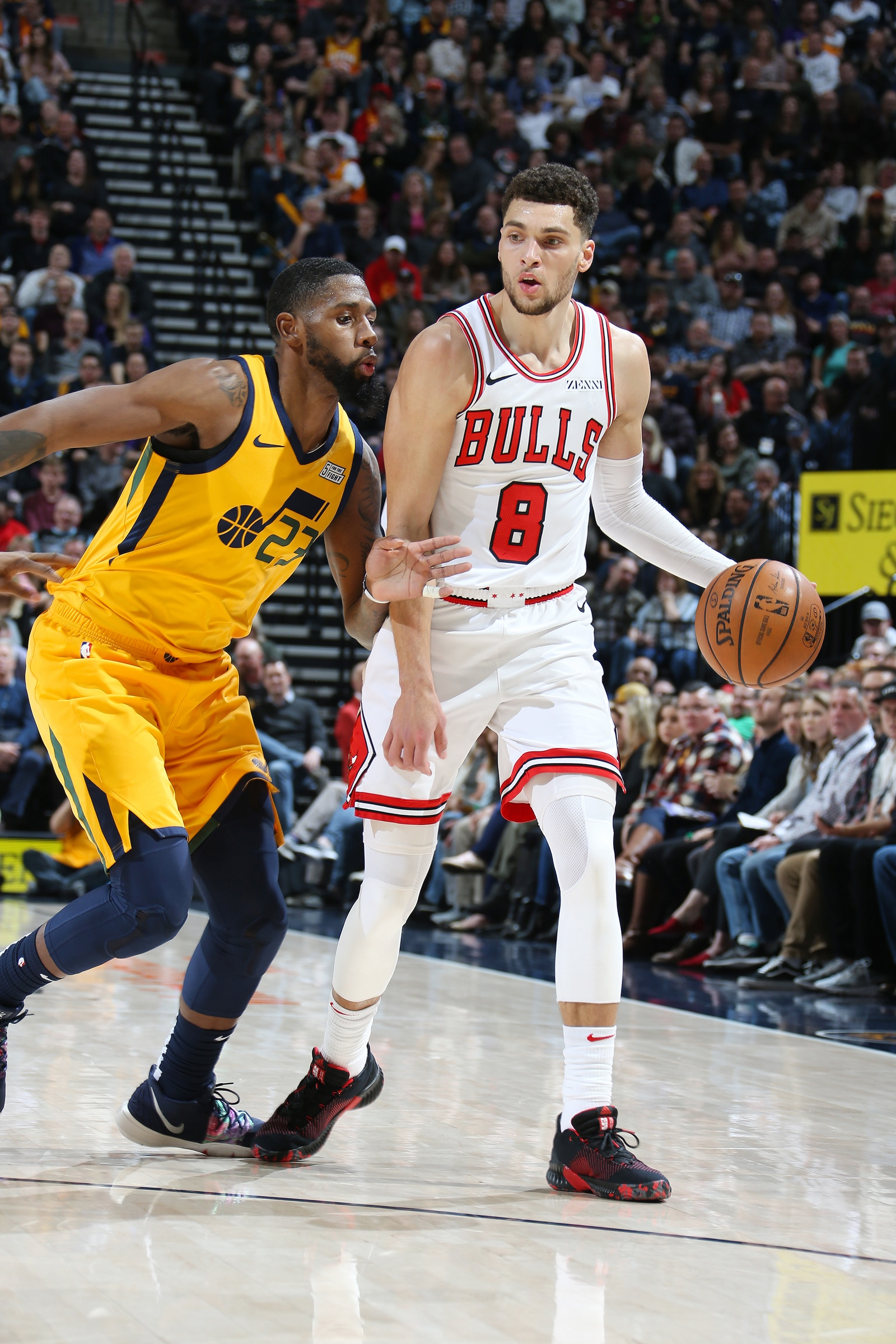 Zach LaVine #8 of the Chicago Bulls handles the ball during the game against the Utah Jazz on January 12, 2019 at Vivint Smart Home Arena in Salt Lake City, Utah.