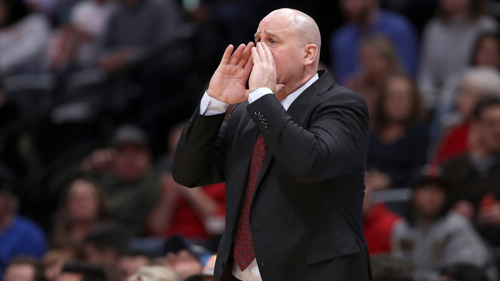Head coach Jim Boylen of the Chicago Bulls works the sidelines against the Denver Nuggets at the Pepsi Center on January 17, 2019 in Denver, Colorado.