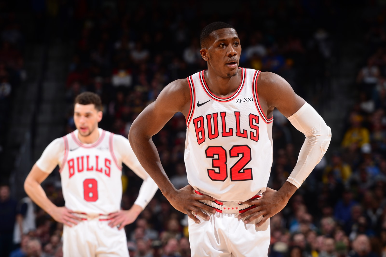 Kris Dunn #32 of the Chicago Bulls looks on during the game against the Denver Nuggets on January 17, 2019 at the Pepsi Center in Denver, Colorado.