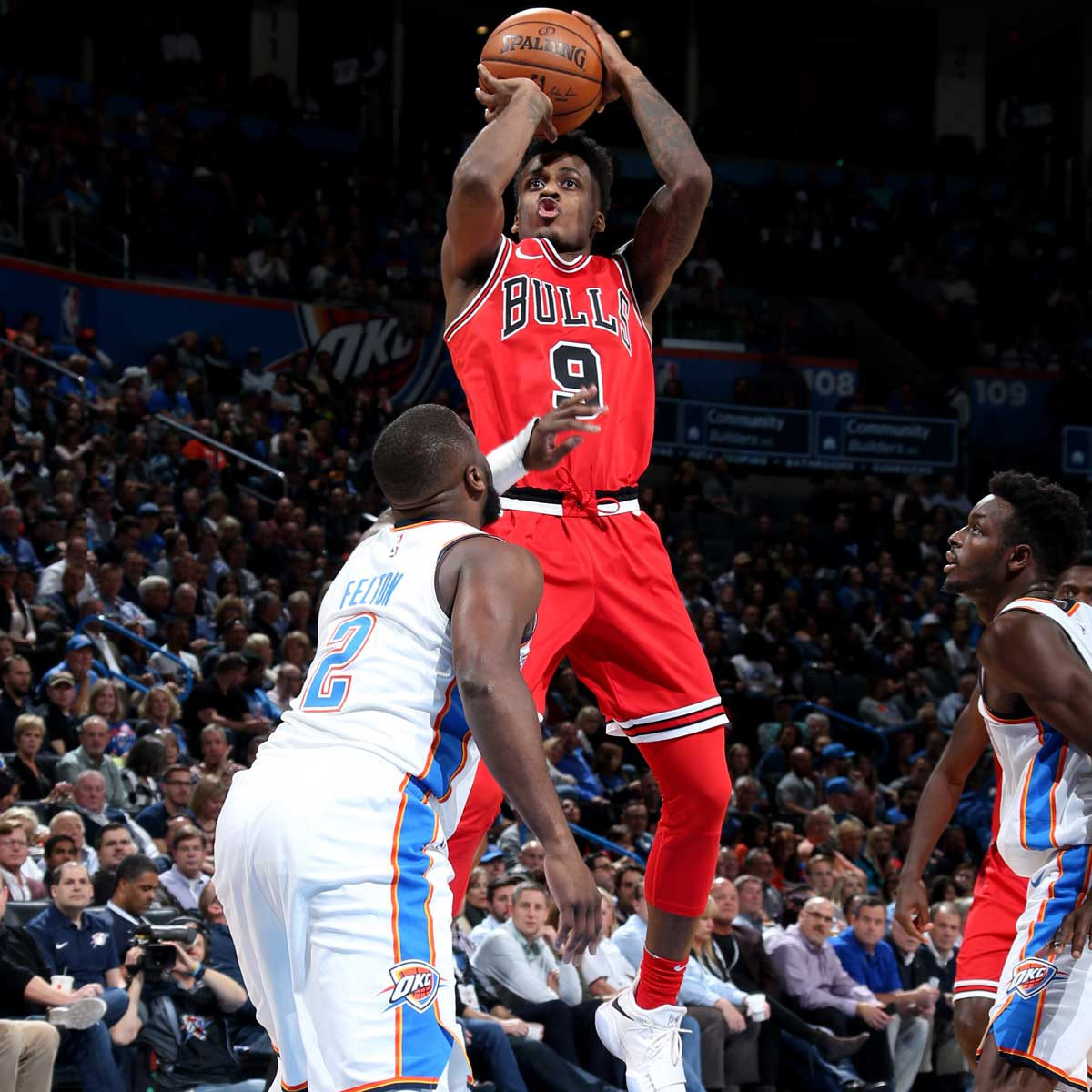 Antonio Blakeney #9 of the Chicago Bulls shoots the ball during the game against the Oklahoma City Thunder on November 15, 2017 at Chesapeake Energy Arena in Oklahoma City, Oklahoma.