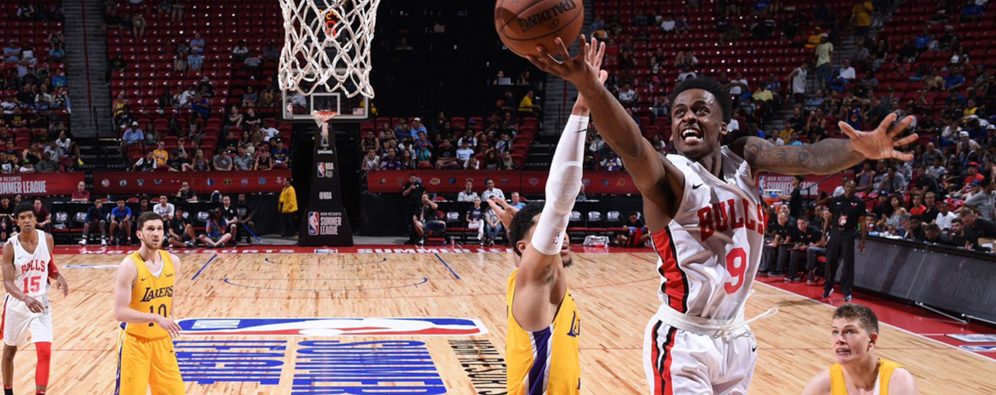 Antonio Blakeney #9 of the Chicago Bulls handles the ball against the Los Angeles Lakers during the 2018 Las Vegas Summer League on July 8, 2018 at the Thomas & Mack Center in Las Vegas, Nevada.