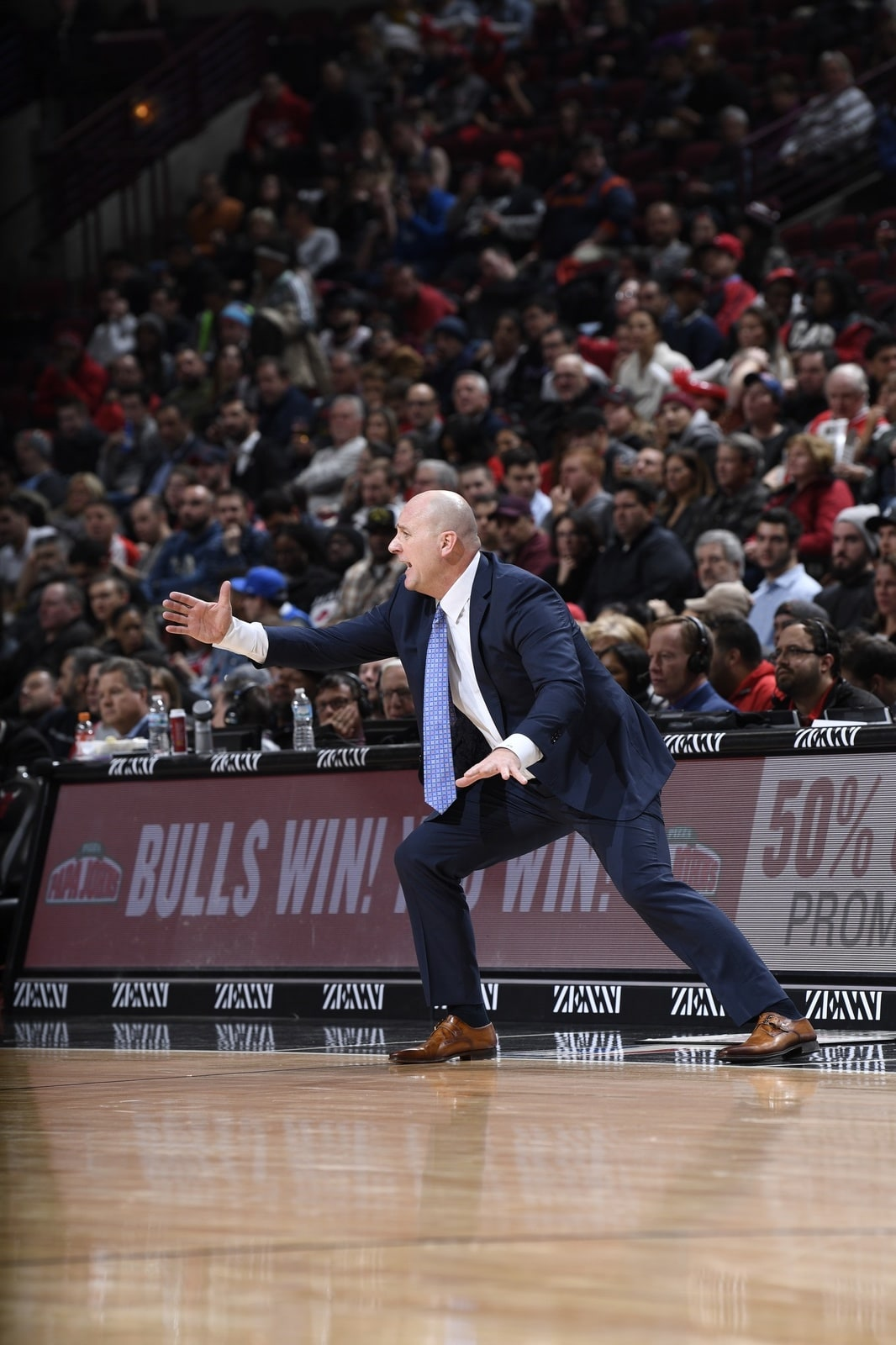 Jim Boylen gesturing on the sidelines during a game
