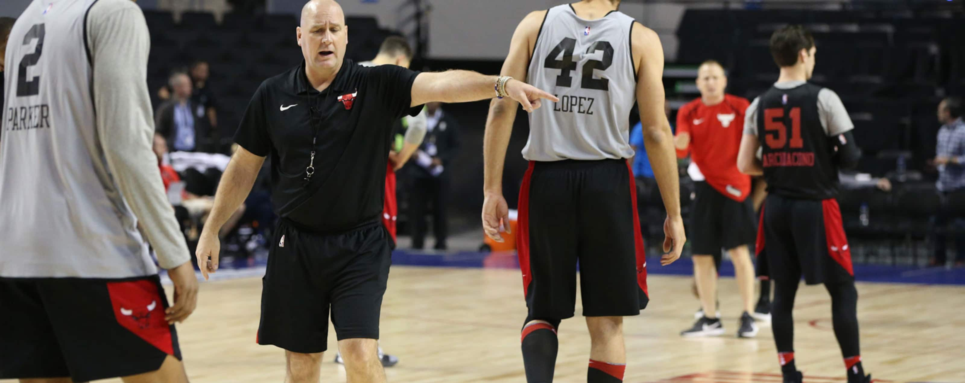 Head Coach Jim Boylen of the Chicago Bulls coaches during practice and media availability as part of the NBA Mexico Games 2018 on December 12, 2018 at Arena Ciudad de Mexico in Mexico City, Mexico