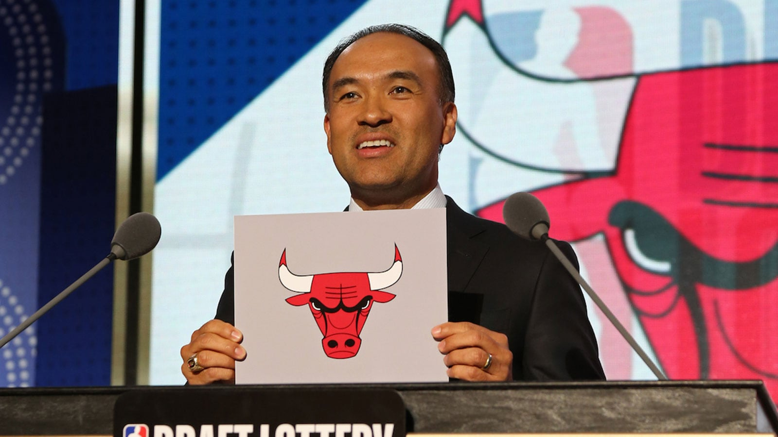 NBA Deputy Commissioner, Mark Tatum awards the Chicago Bulls the number seven pick in the 2018 NBA Draft during the NBA Draft Lottery on May 15, 2018