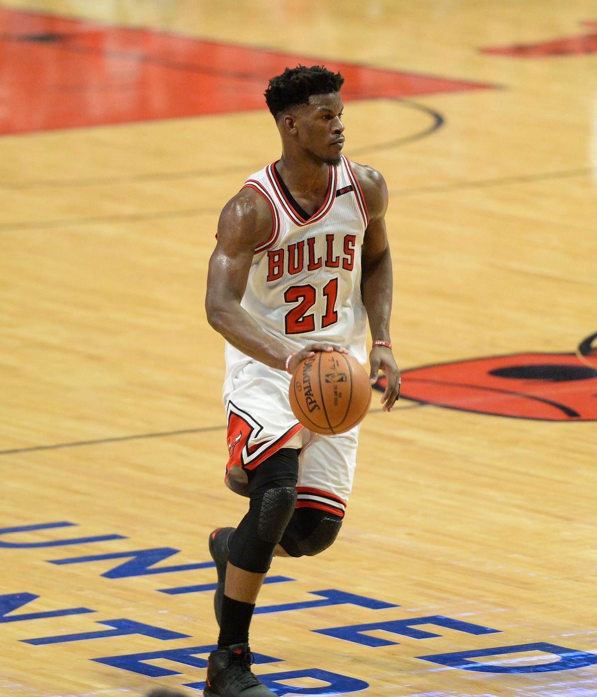 Jimmy Butler #21 of the Chicago Bulls handles the ball.