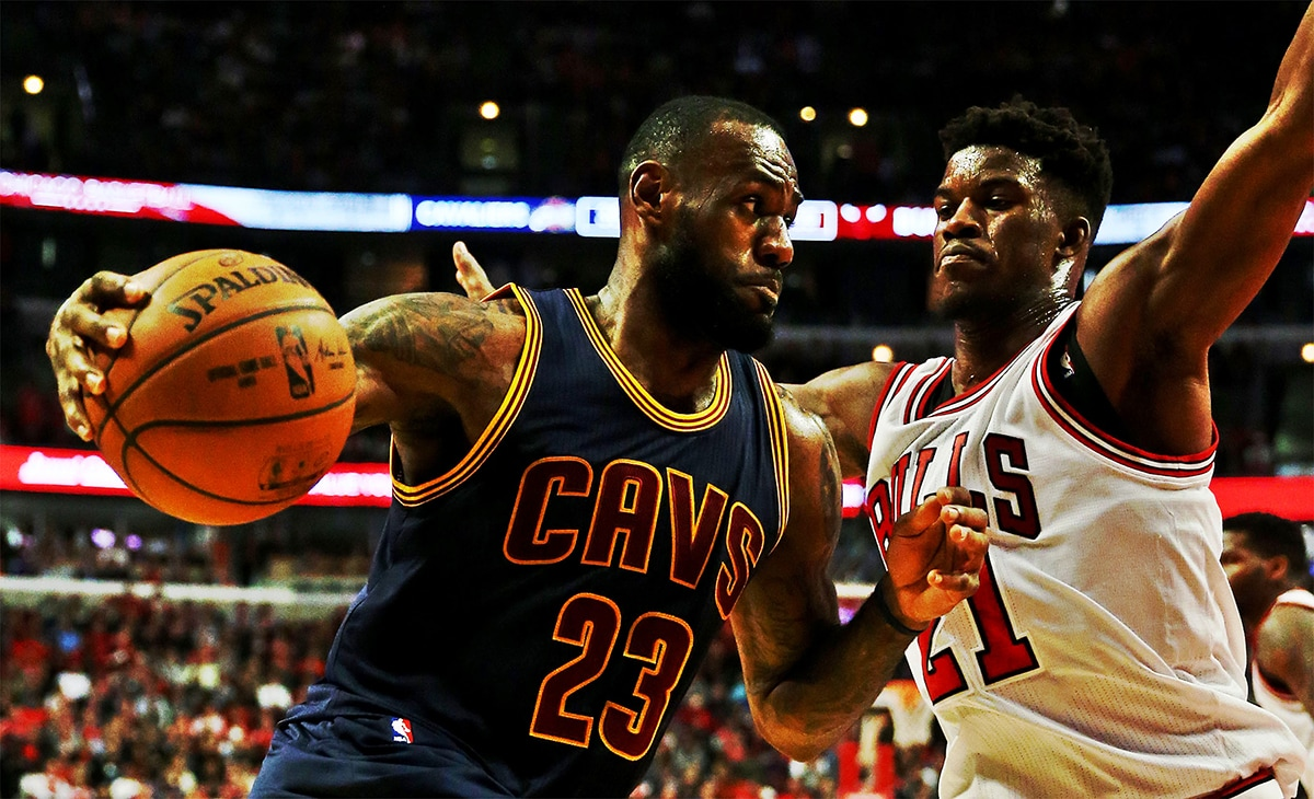 Jimmy Butler goes up against LeBron James at the United Center