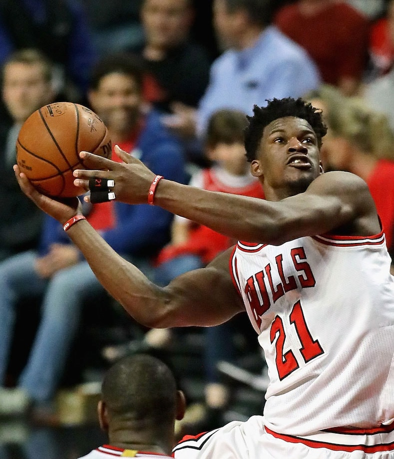 Jimmy Butler #21 of the Chicago Bulls puts up a shot.