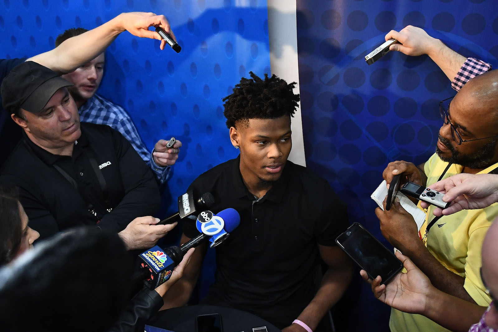 Cam Reddish speaks with the media during the NBA Draft Combine
