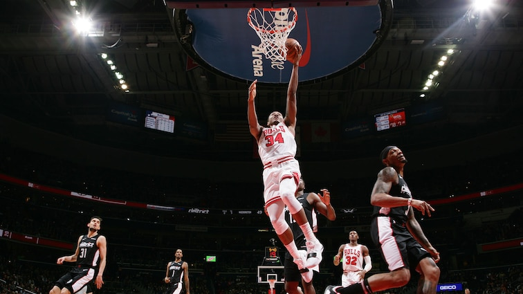 Wendell Carter Jr. #34 of the Chicago Bulls shoots the ball against the Washington Wizards on December 28, 2018 at Capital One Arena in Washington, DC