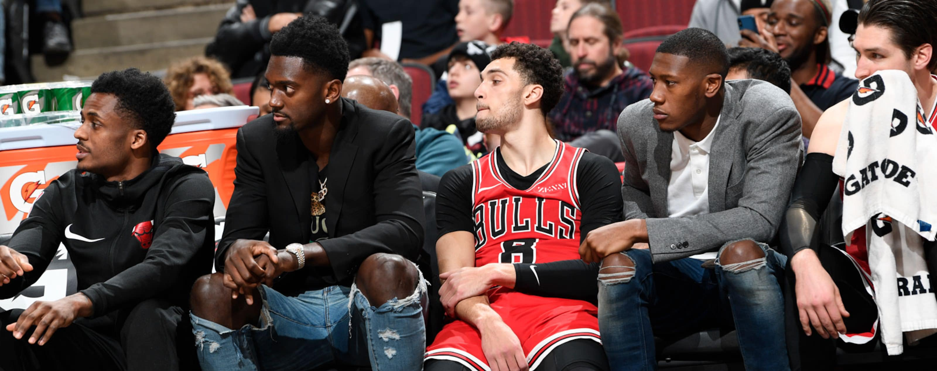 Antonio Blakeney, Bobby Portis, Zach Lavine, Kris Dunn and Ryan Arcidiacono sitting on the bench during the third quarter.