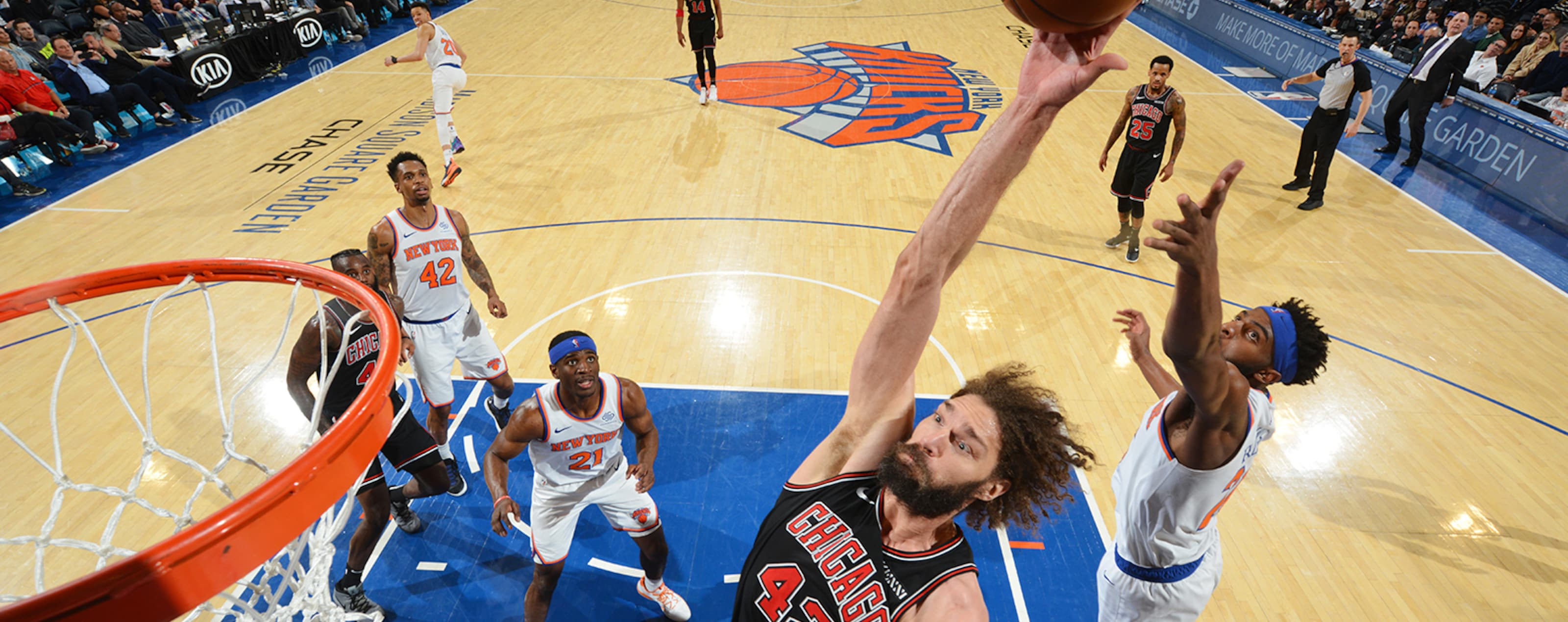 Robin Lopez of the Chicago Bulls dunks the ball