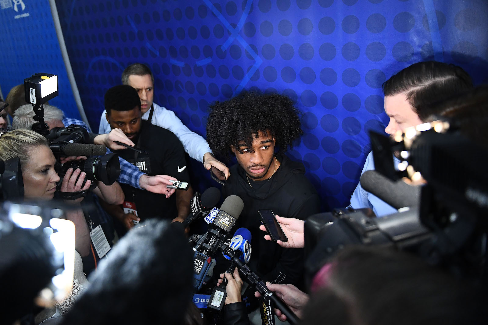 Coby White speaks with the media during the NBA Draft Combine