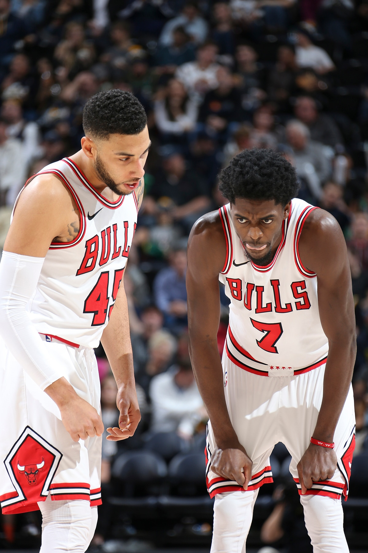 Denzel Valentine talking to Justin Holiday during the Bulls game against the Utah Jazz