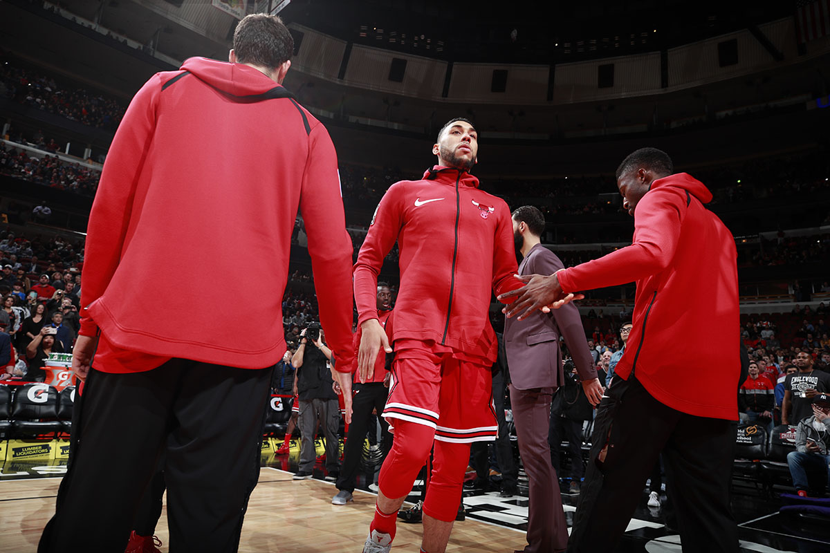 Denzel Valentine of the Chicago Bulls during player introductions