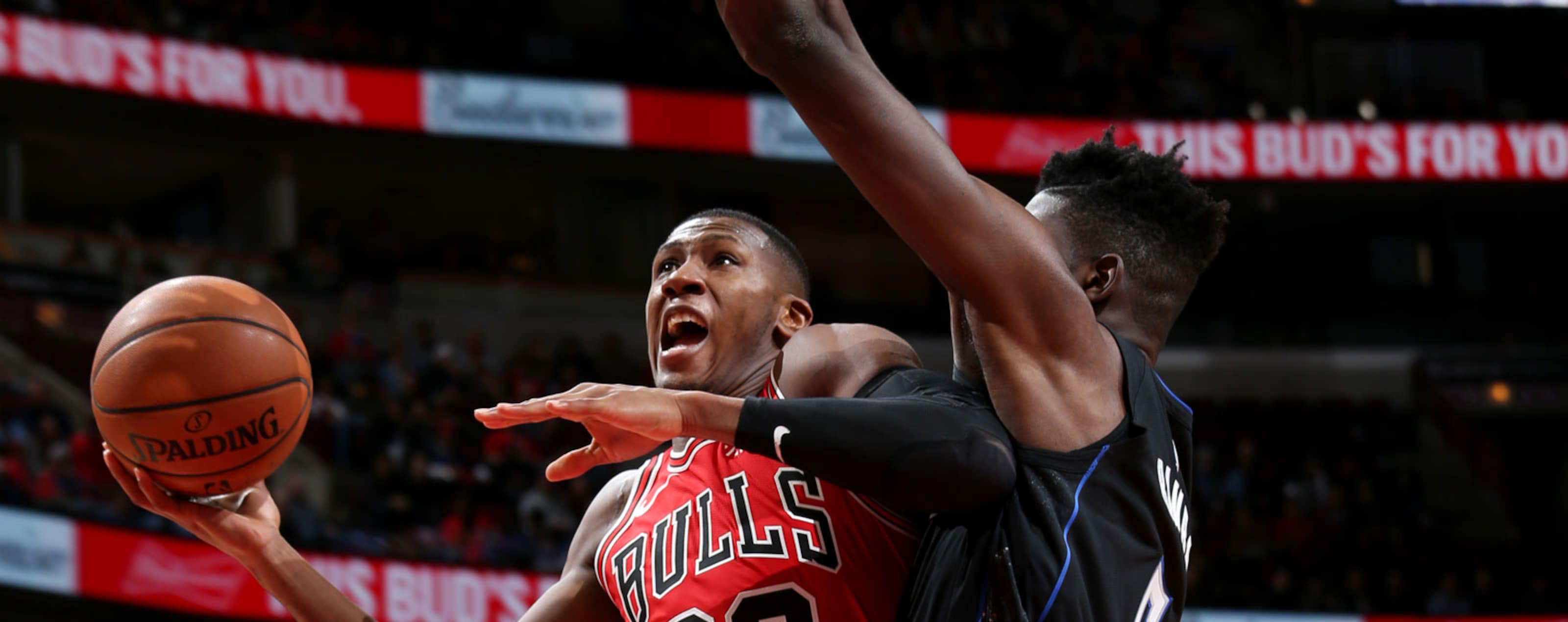 Kris Dunn #32 of the Chicago Bulls goes to the basket against the Orlando Magic on December 21, 2018 at the United Center in Chicago, Illinois.