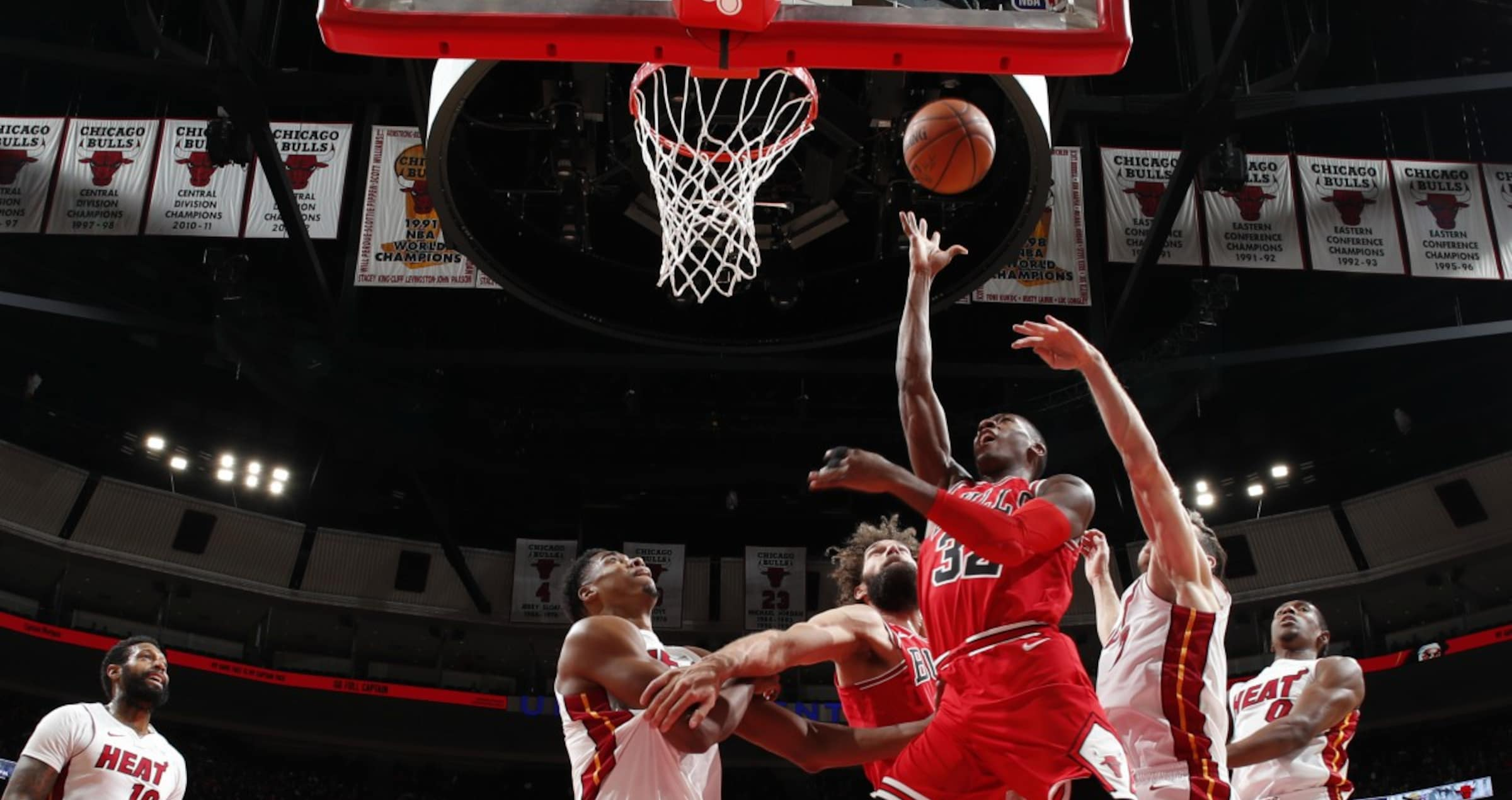Dunn goes for the layup against Miami at home