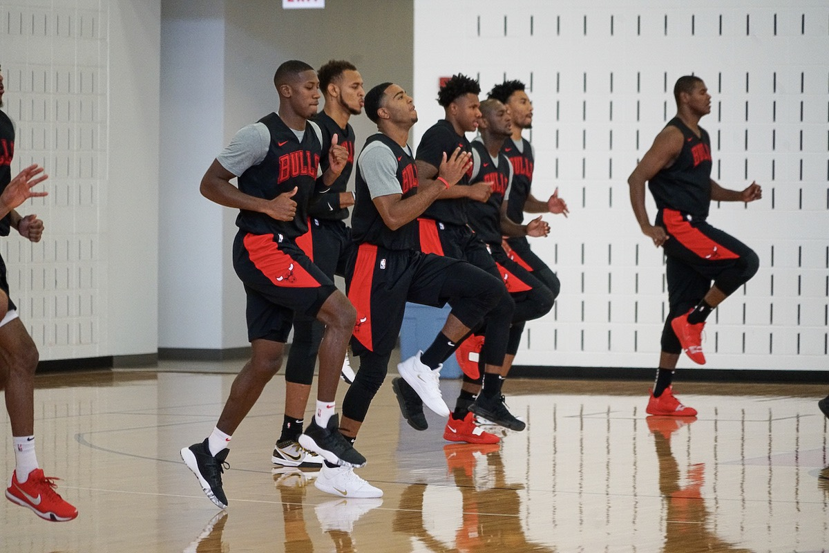 Bulls players at Training Camp Day 1