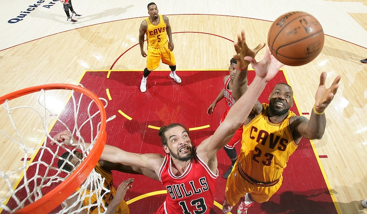 Joakim Noah and LeBron James