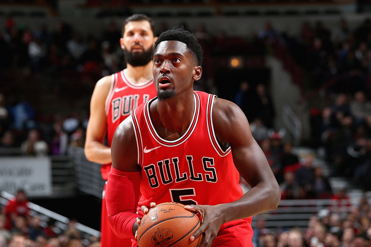 Bobby Portis of the Chicago Bulls shoots a free throw against the Orlando Magic at the United Center on December 20, 2017 in Chicago, Illinois.