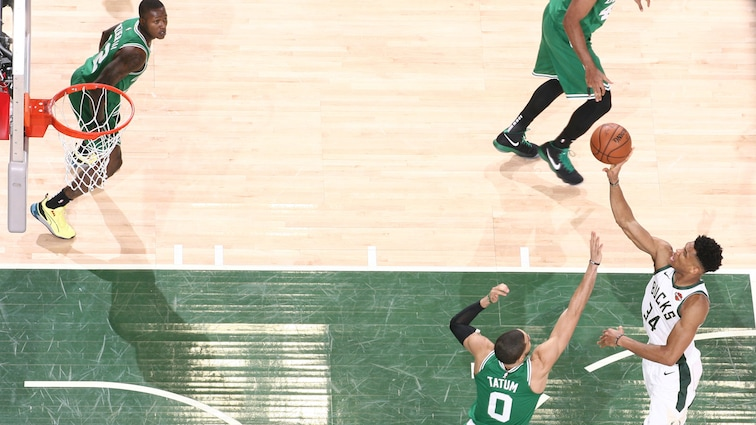 Giannis Antetokounmpo #34 of the Milwaukee Bucks shoots the ball against the Boston Celtics during Game Five of the Eastern Conference Semifinals of the 2019 NBA Playoffs on May 8, 2019 at the Fiserv Forum in Milwaukee, Wisconsin.