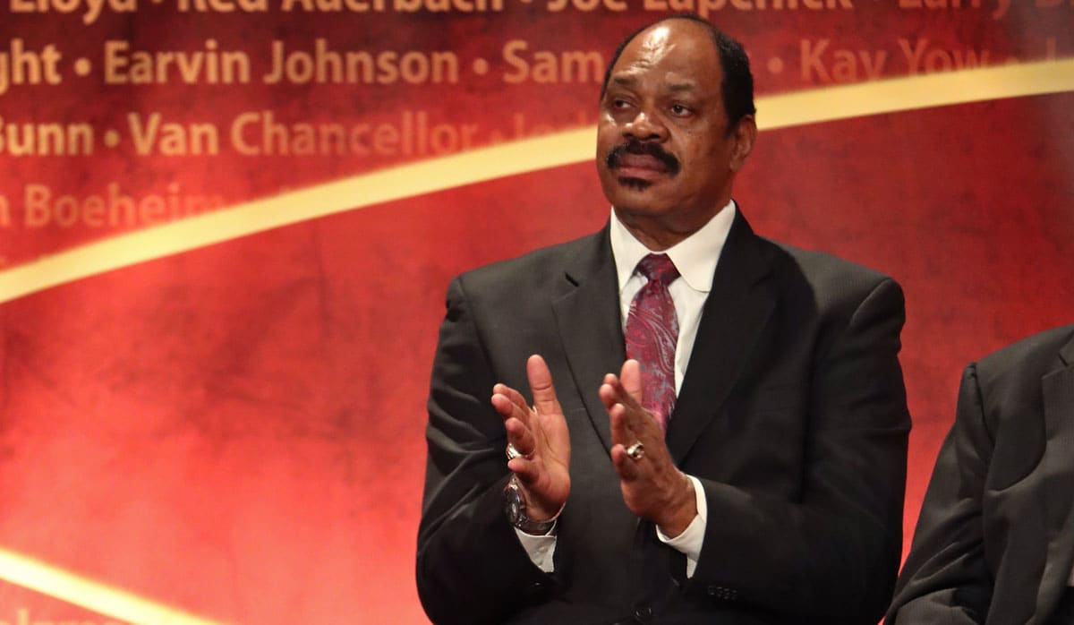 Artis Gilmore sits on stage during the 2017 Basketball Hall of Fame Enshrinement Ceremony on September 8, 2017 at the Naismith Memorial Basketball Hall of Fame in Springfield, Massachusetts.