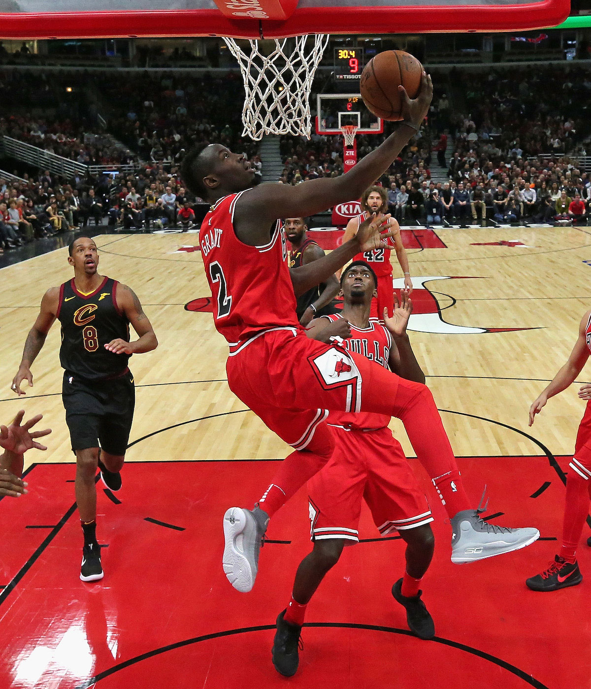Jerian Grant #2 of the Chicago Bulls puts up a shot against the Cleveland Cavaliers at the United Center on December 4, 2017 in Chicago, Illinois.